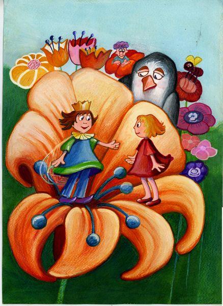 Thumbelina meets a Tiny Flower-Fairy Prince