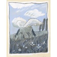 Winged Horse on a Pasture