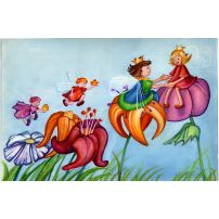 Thumbelina and her Husband travel from Flower to Flower